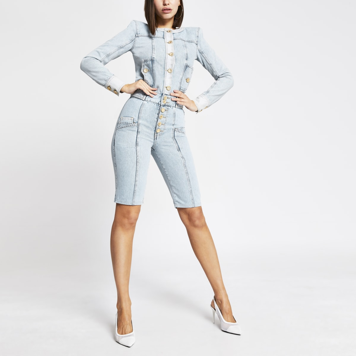 Blue high rise button front denim shorts