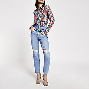 Blaue Jeans im Used-Look mit hohem Korsettbund