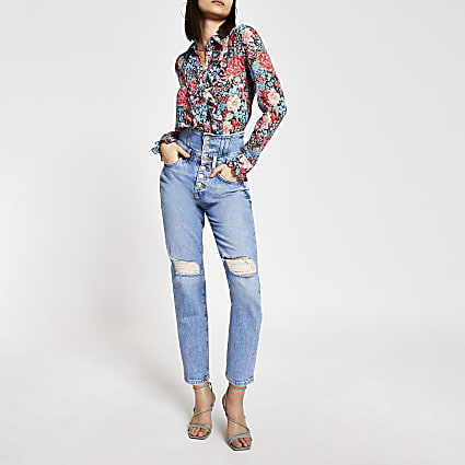 Blue high rise corset waist ripped jeans