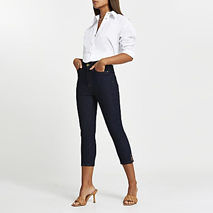 Blue high rise cropped jeans