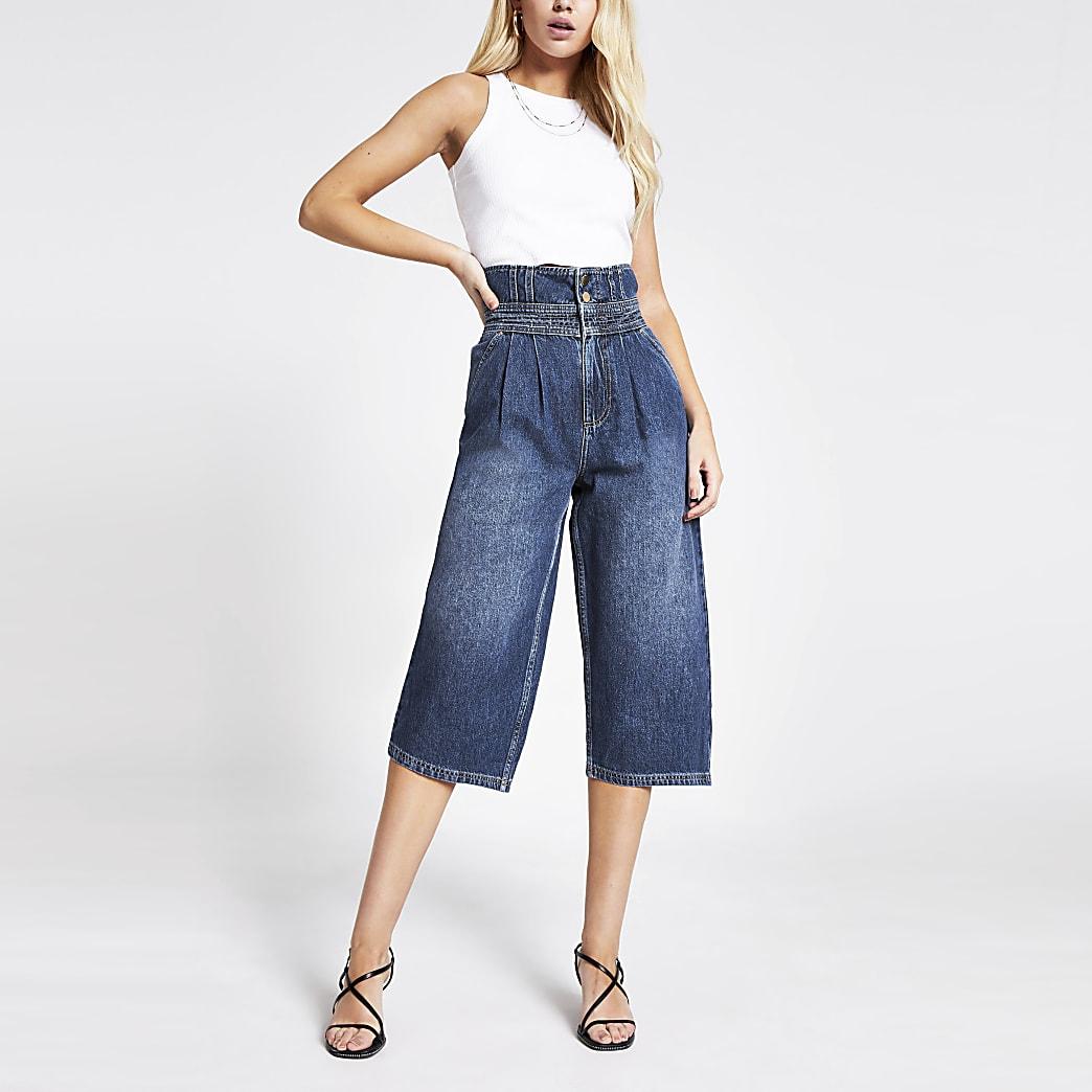 Jean jupe-culotte taille haute bleu