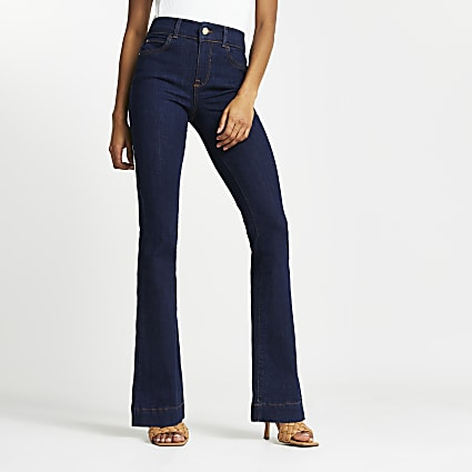 Blue high rise flared denim jeans