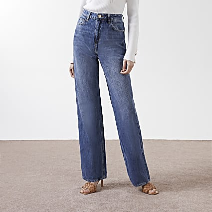 Blue high rise loose leg Dad jeans