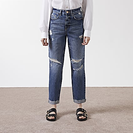 Blue high rise Mom jeans