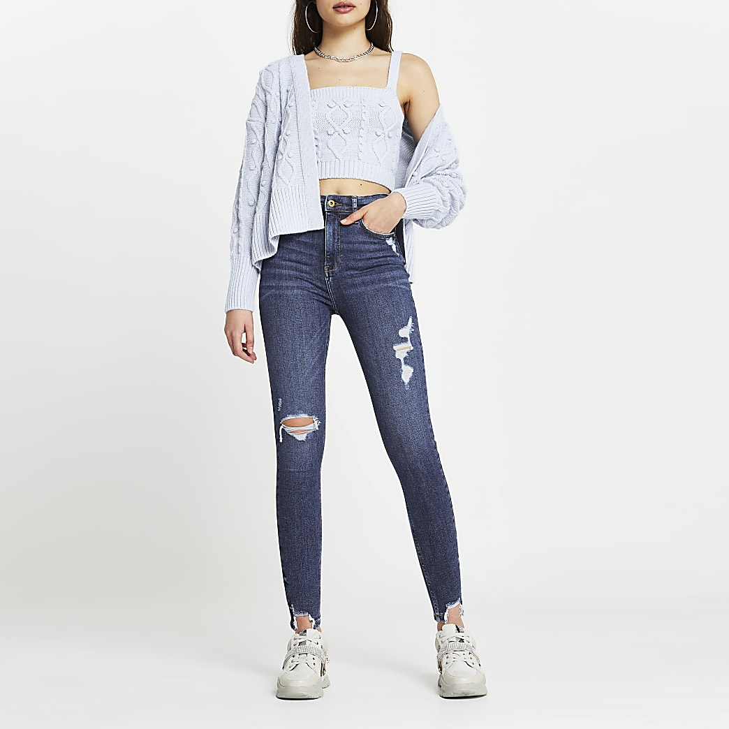 Blue high rise ripped skinny jeans