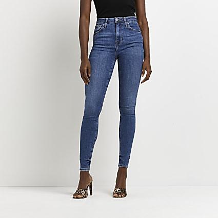 Blue high rise skinny bum sculpt jeans
