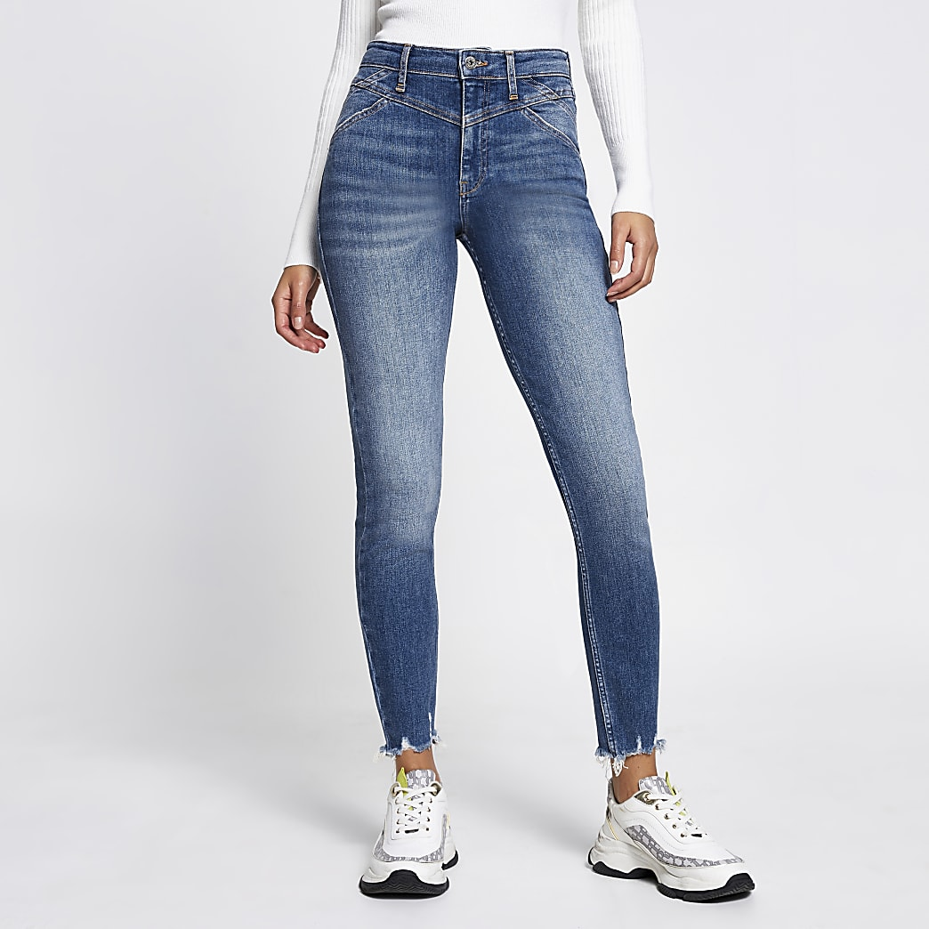 Blue high rise skinny jeans