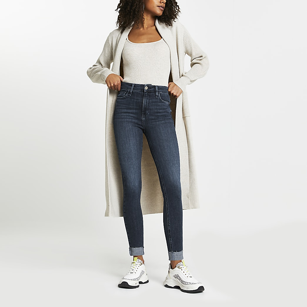 Blue high rise skinny turn up jeans