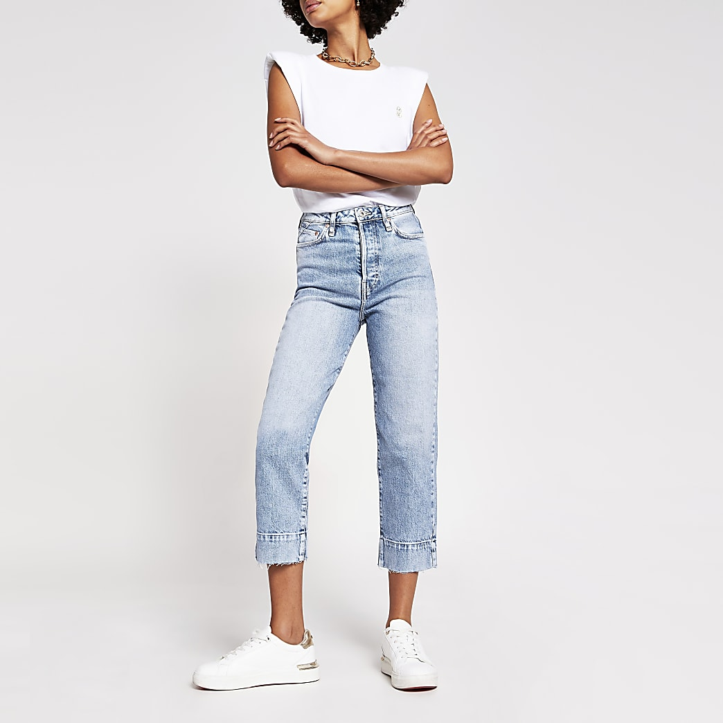 Blue high rise straight cropped jeans