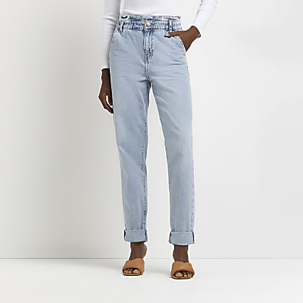 Blue high rise tapered jeans