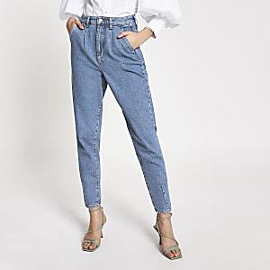 Blauwe smaltoelopende jeans met hoge taille