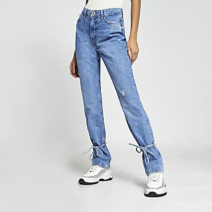 Blue high rise tie hem jeans