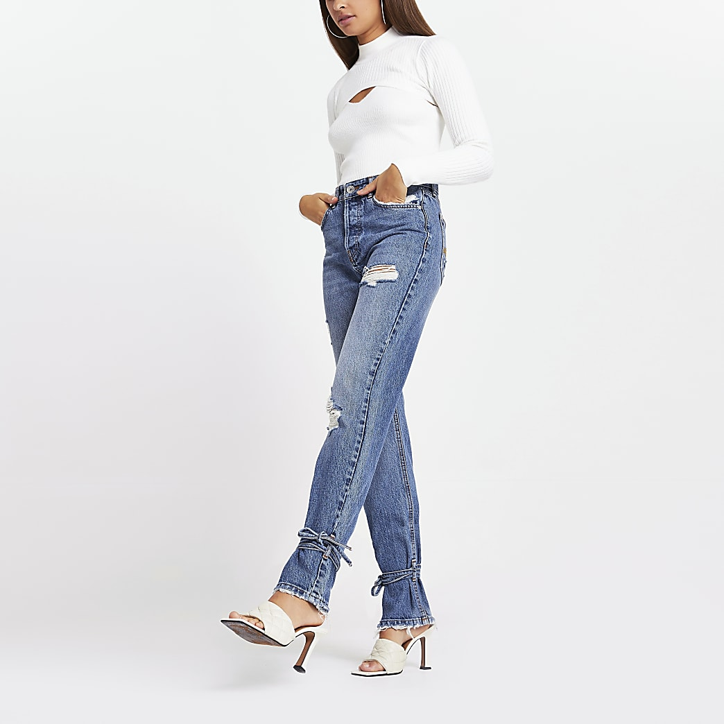 Blue high rise tie hem rip detail jeans