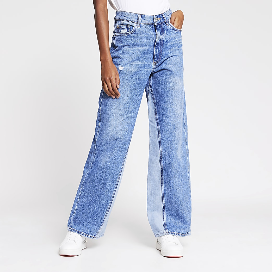 Blue high rise wide leg jean