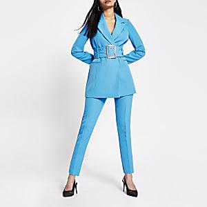 Blauwe smaltoelopende broek met hoge taille
