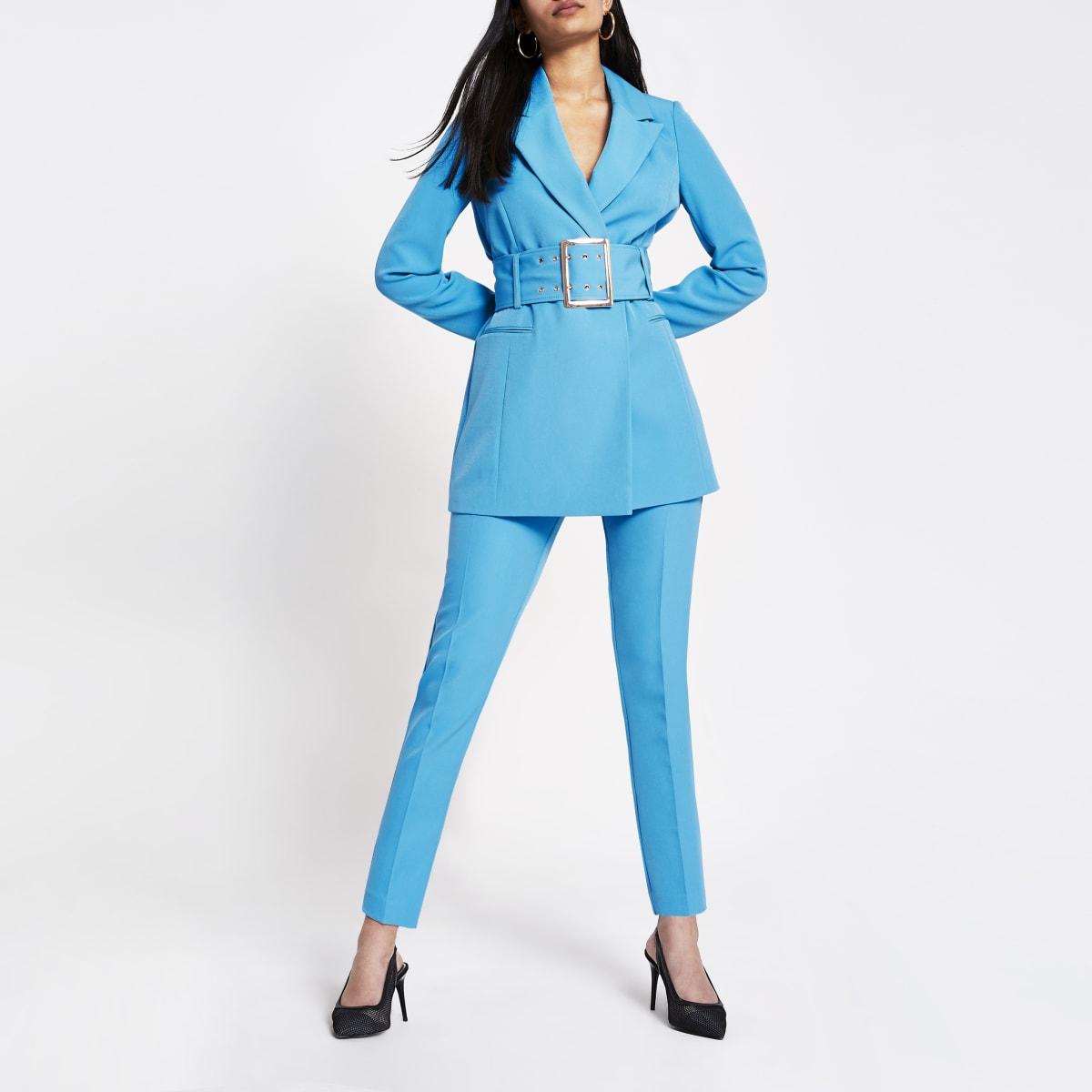 Blue high waist cigarette trouser