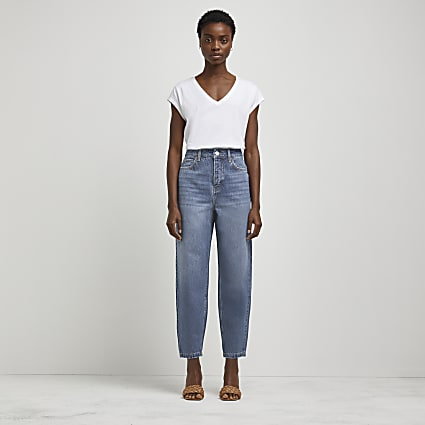 Blue high waisted barrel leg jeans