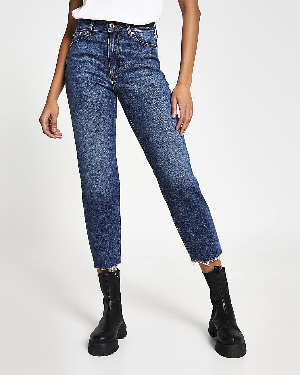 Blue high waisted blair straight jeans