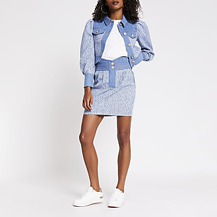Blue high waisted boucle mix denim skirt