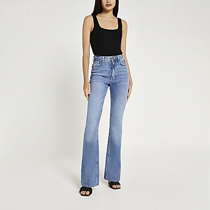 Blue high waisted bum sculpt flared jeans