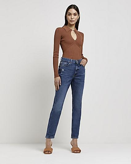 Blue high waisted bum sculpt mom jeans