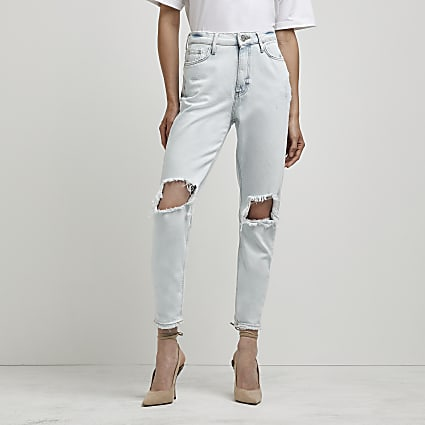 Blue high waisted bum sculpt ripped mom jeans