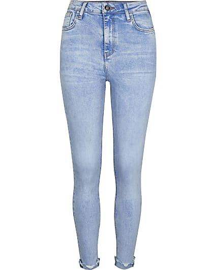 Blue high waisted bum sculpt skinny jeans