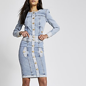 Blauwe high waisted denim midirok met knopen