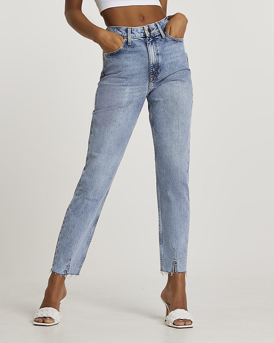Blue high waisted dart hem mom jeans