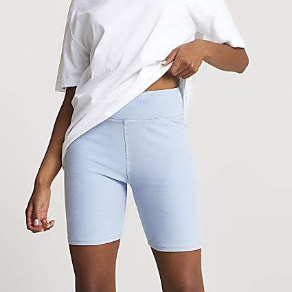 Blue high waisted denim cycling shorts
