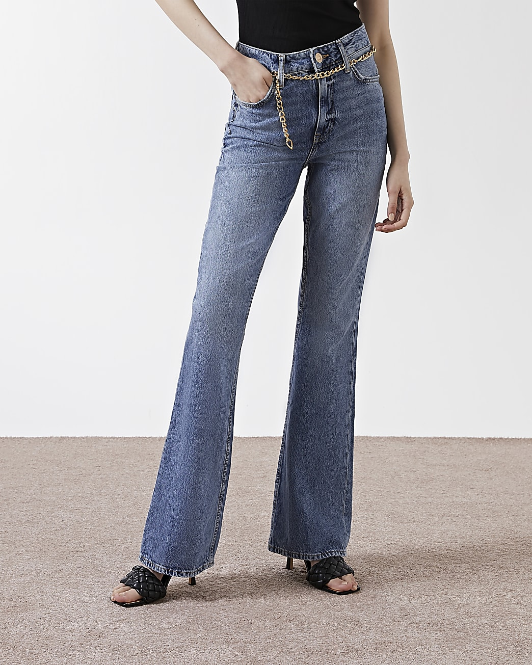 Blue high waisted flared jeans