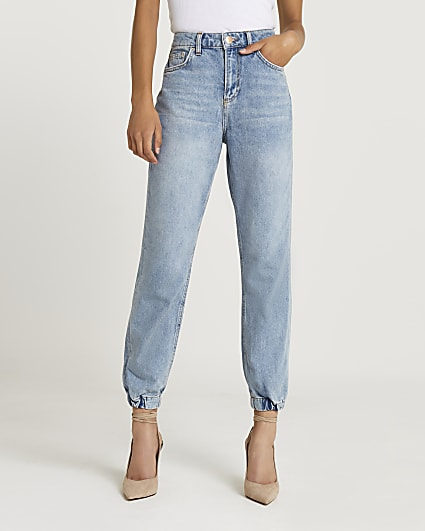 Blue high waisted jogger jeans