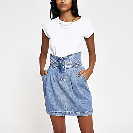 Blue high waisted mini denim skirt