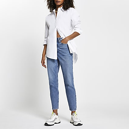 Blue high waisted mom jeans