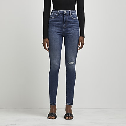 Blue high waisted ripped skinny jeans