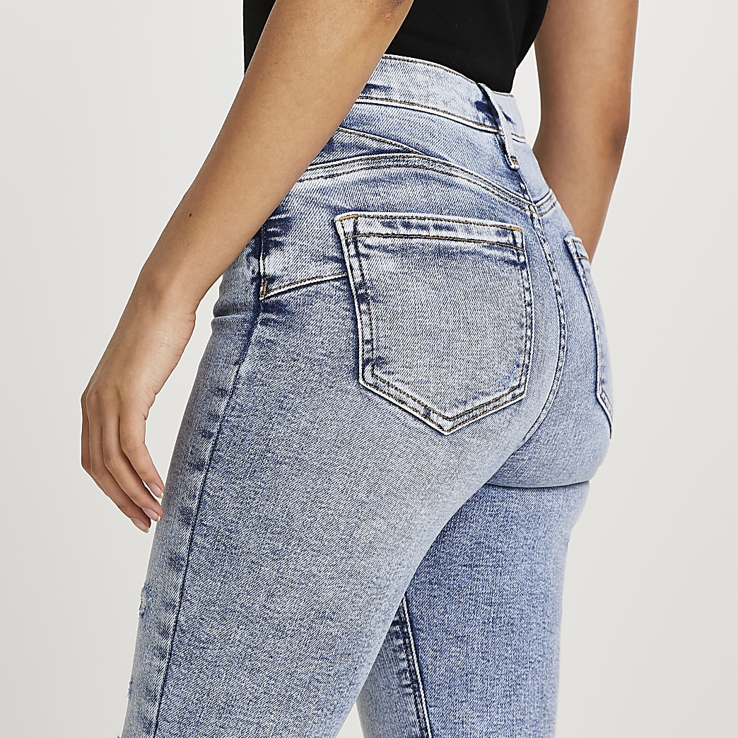 Blue high waisted skinny bum sculpt jeans