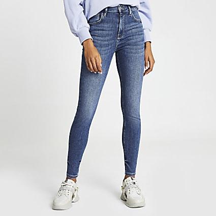 Blue high waisted skinny bum sculpt jeans