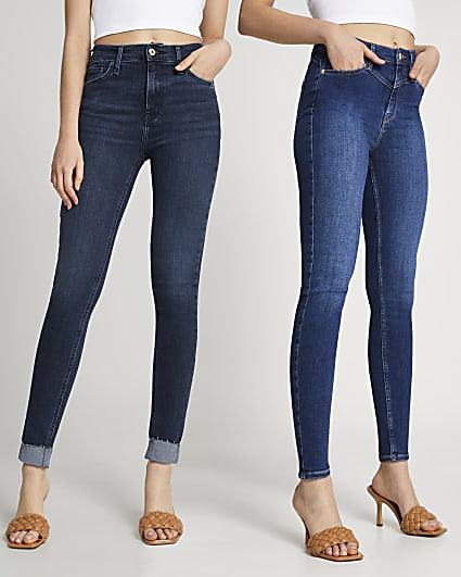 Blue high waisted skinny jeans multipack