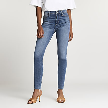 Blue high waisted skinny sculpt jeans