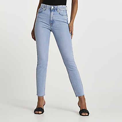 Blue high waisted slim fit comfort jeans