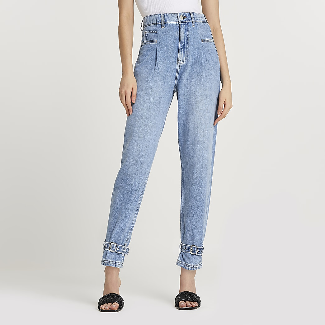 Blue high waisted slim fit jean