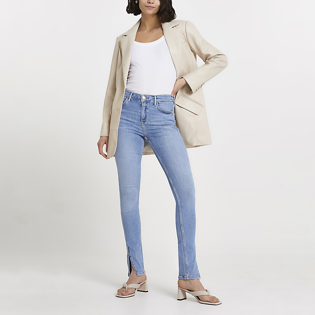 Blue high waisted slim fit jeans