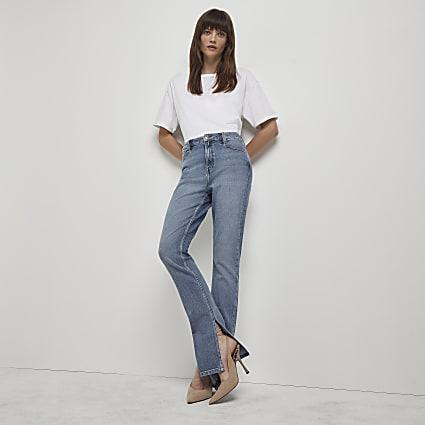Blue high waisted slim flare jeans