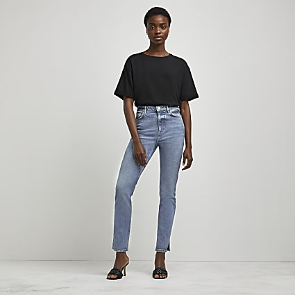 Blue high waisted slim jeans