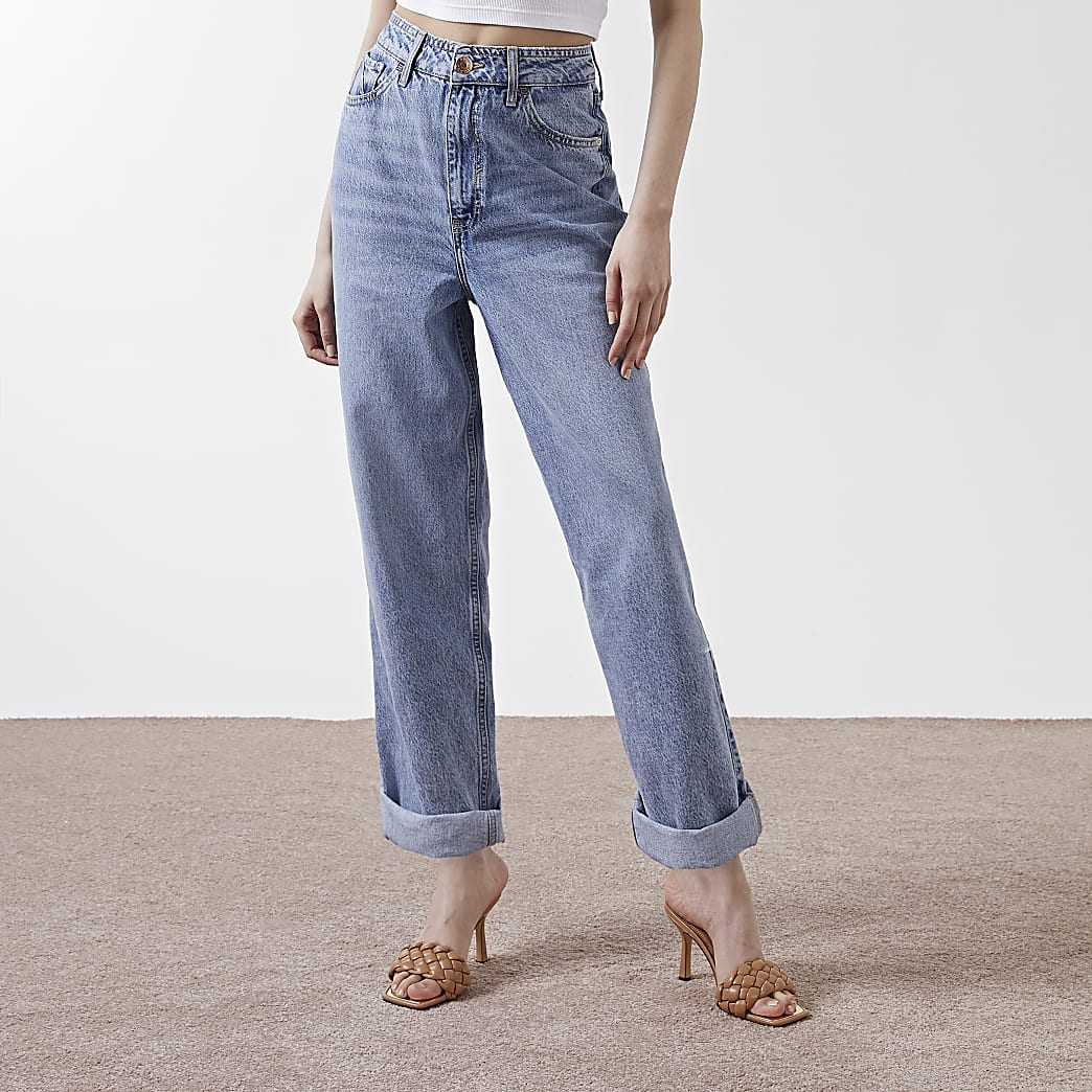 Blue high waisted slouchy mom jeans