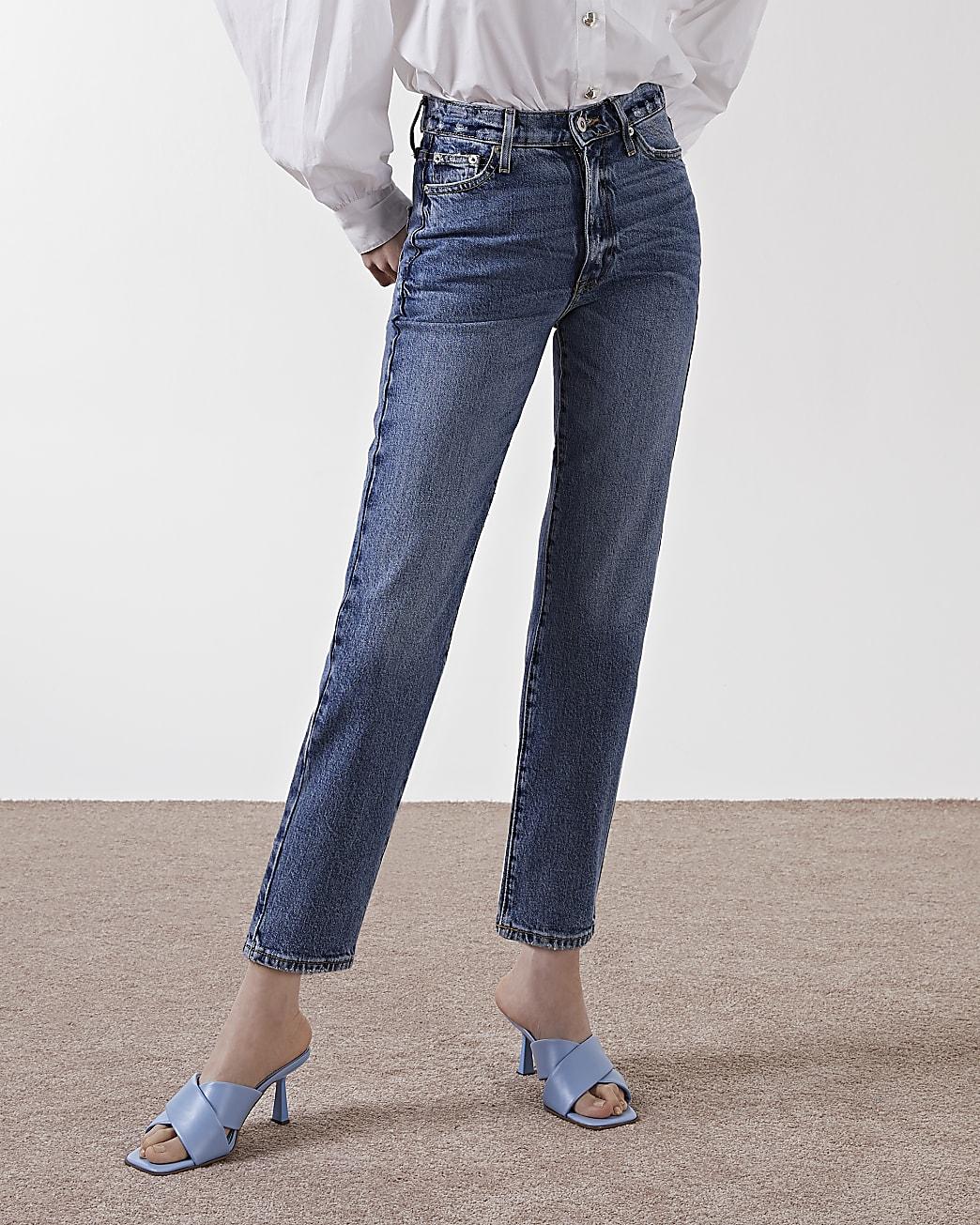 Blue high waisted straight jean