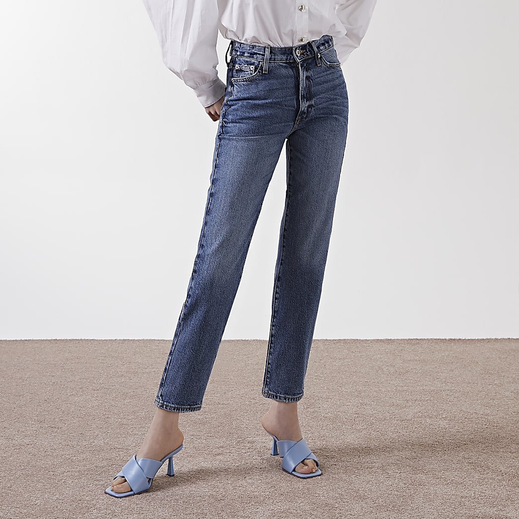 Blue high waisted straight jean