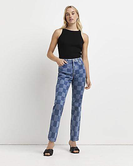 Blue high waisted straight jeans
