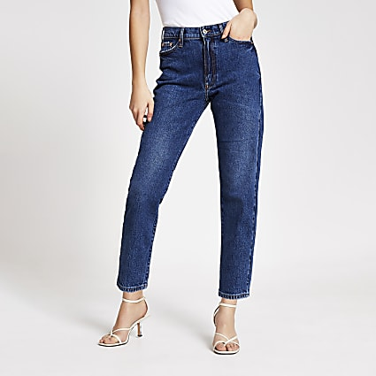 blue high waisted straight jeans