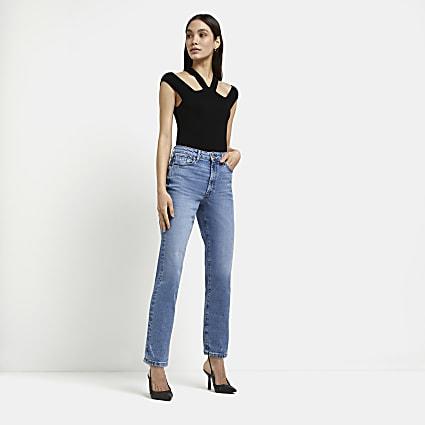 Blue high waisted straight leg jeans